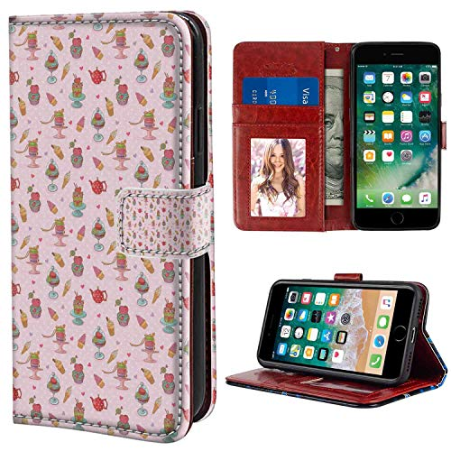 iPhone 6s Plus, 6 Plus [5.5-Inch] Leather Case Ice Cream Retro Style Cupcakes Teapots Candies Cookies on Polka Dots Vintage Kitchen Print Multicolor Printing for Girls Case
