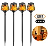 Solar Flame Torches Lights Flickering Flame Dancing Landscape Lanterns Dusk to Dawn IP65 Waterproof for Outdoor Garden, Parties, Campfires, Camping, Beaches Lighting and Decoration
