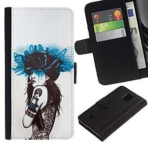 Fumar mariposa del tatuaje- la tarjeta de Crédito Slots PU Funda de cuero Monedero caso cubierta de piel Para Samsung Galaxy S5 Mini (Not S5), SM-G800