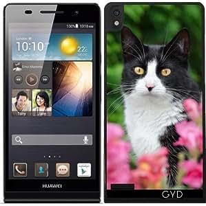 Funda para Huawei Ascend P6 - Negro Gato Blanco Flores De Color Rosa by Katho Menden