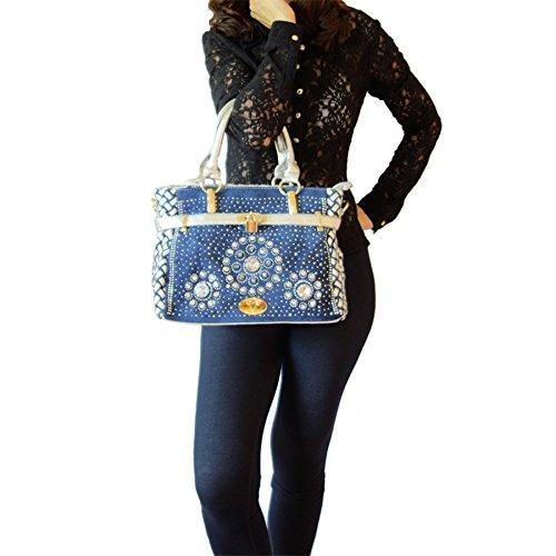 Utrendo, Borsa a mano donna multicolore Jeansblau-Silber