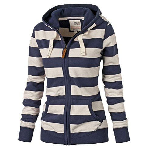 運命的なジャニス有名人Zhhlinyuan ニースの服 Casual Womens Striped Strap Slim Hooded Sweater Long Sleeve Jackets