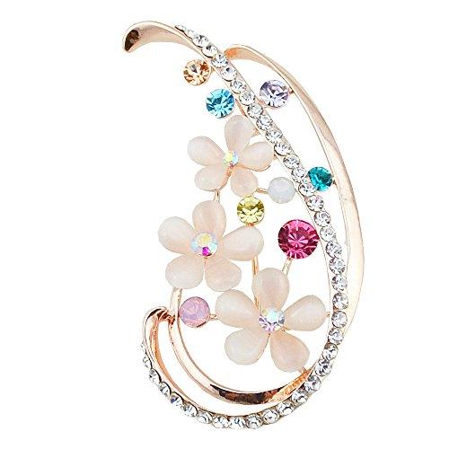 ALBEST Jewelry Women's Gold Plated White Cat's Eye Flower Diamond Brooches Pin (Cats Eye White Flower)