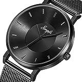 SONGDU Mens Black Minimalist Cool Stainless Steel Analog Dress Quartz Wrist Watch Metal Waterproof Watch (Black - Mesh)