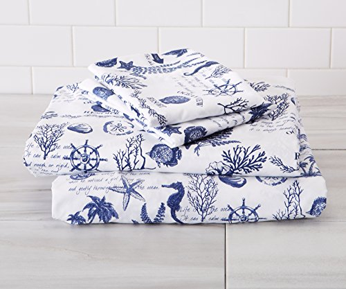 Great Bay Home Ultra-Soft Double-Brushed Coastal Printed Microfiber Sheet Set. Beautiful Patterns, Comfortable, All-Season Bed Sheets Brand. (King, Catalina)