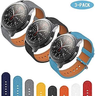 TOPsic Correas para Gear S3 Frontier/Classic Bandas, 22mm Piel Correas Pulsera para Samsung Gear S3 Cassic/S3 Frontier/Galaxy Watch 46mm Smartwatch