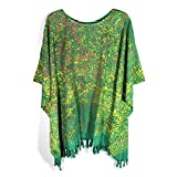 Green Motif Superfine Rayon Splash Art Swimsuit Cover-ups Poncho For Women with Tessel Free Size