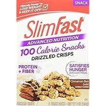 Slim Fast Advanced Nutrition 100 Calorie Snacks, Drizzled Crisps, Cinnamon Bun Swirl, 5 Count