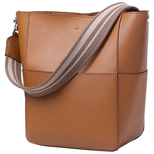 Bucket Shoulder Bag (Women's Vintage Leather Designer Handbags Fashion Bucket Tote Shoulder Bag Purse)