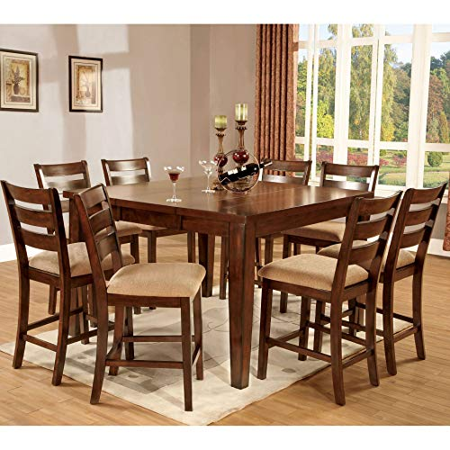 Mission Oak Oak Pub Table - 247SHOPATHOME IDF-3111PT-9PC Dining-Room-Sets, 9-Piece, Brown