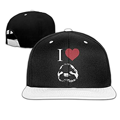 I Love Sloths Unisex Hip-Hop Flat Brim Snapback Hats Plain Cotton Baseball Cap Hats for Boys