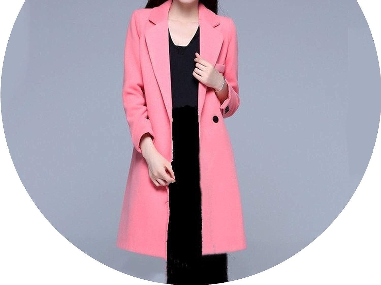 Autumn Winter Single Button Long Outerwear Casual Long Sleeve Woolen Coats Women Turn-Down Collar Blends Overcoats
