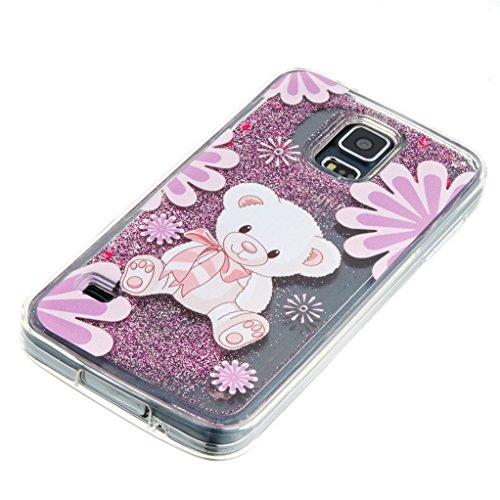 Trumpshop Smartphone Carcasa Funda Protección para Samsung Galaxy S5 + Atrapasueños + TPU 3D Liquido Dinámica Sparkle Estrellas Quicksand Resistente a arañazos Caja Protectora Oso del bebé de Blanco