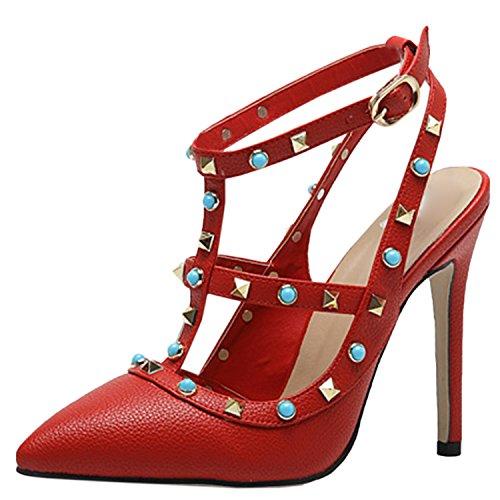 D2C Beauty Womens Studded Rivet Pointed Toe Bucke High Heel Pumps Red