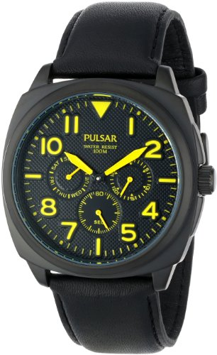 Pulsar Rubber Watch - Pulsar Men's PP6077 Analog Display Japanese Quartz Black Watch