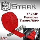 Stark Thermal Wrap 1'' Wide x 50' Long - Fiberglass Heat Shield Exhaust Manifold/Header Wrap - Red