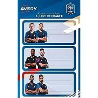 AVERY FOOTSC01 Lot de 18 Etiquettes scolaires Foot equipe de France pour Livres/Cahiers 34 x 76 mm