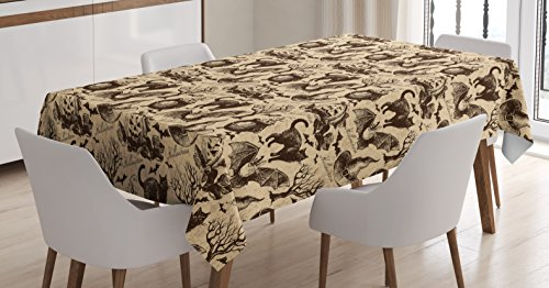 Ambesonne Vintage Halloween Tablecloth, Symbols of Halloween Witch Hat Cauldron Fall Jack o Lantern Black Cat, Dining Room Kitchen Rectangular Table Cover, 52 W X 70 L inches, Light Brown ()
