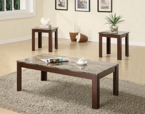 3-piece Occasional Table Set - Antique Marble Tables