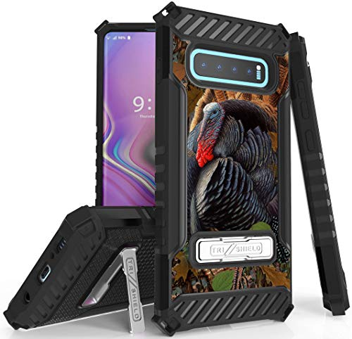Galaxy S10 Plus Case, Tri-Shield [Hunter Series] Rugged Military-Grade Cover with Metal Kickstand [Wild Turkey Design] for Samsung Galaxy S10 Plus Phone (SM-G975) s10+