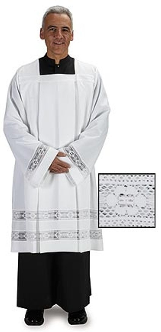 Liturgical Church Garment Double Lace Polyester Surplice (Extra Large - Back: 43'' L / Sleeve: 30'' / Fit Height: Over 6'3'') by Trinity