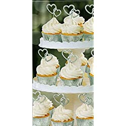 Electroplated Plastic Silver Heart Shaped Cupcake Picks - 12 ct