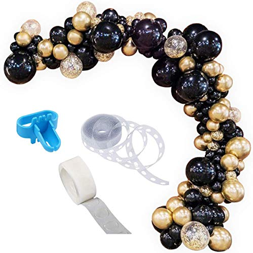 Balloon Garland Arch Kit, 90PCS 12Inch Balloon Garland Including Black Chrome & Gold Confetti Balloons Assorted Balloons Decorations Backdrop Ideal for Wedding Birthday Baby Shower Bridal Party Decorations