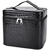 Makeup Train Case,Coofit Beauty Cosmetic Case Crocodile Pattern Leather Makeup Travel Case with Mirror
