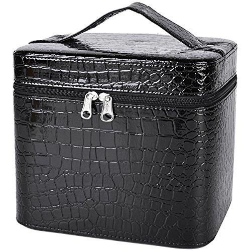 Coofit Beauty Box Crocodile Pattern Leather Makeup Case for Women Large Black