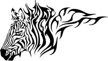 "TRIBAL ZEBRA WILDLIFE Vinyl Decal Sticker-6/"" Wide White Color"