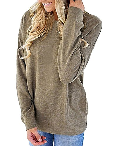 Crewneck Long Sleeve Tops Blouses for Women Fall Winter Tunic Shirts Casual Loose Prime Clearance Size XL