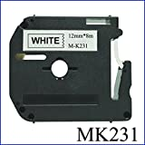 12Mm Label Printer - Compatible Brother Label M231 Tape Cartridge 12mm M-K231 Printer Label Black on White For Brother PT Machines MK231