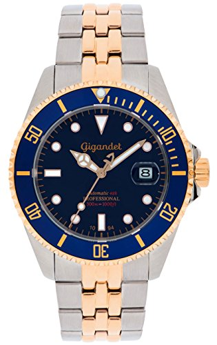 Gigandet Men's Automatic Watch Sea Ground Analog Stainless Steel 30atm Two-Tone Blue Rose Gold G2-021