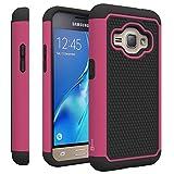 Samsung Galaxy Express 3 Case, Samsung Luna case (2016), CoverON [HexaGuard Series] Slim Hybrid Hard Phone Cover Case for Samsung Galaxy J1 Luna 4G LTE - Hot Pink / Black