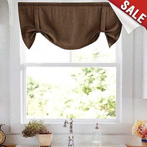 Tie Up Curtains for Windows Linen Textured Adjustable Room Darkening Tie-up Shade for Kitchen Rod Pocket Tie-up Valance (1 Panel,18-Inch - Valance Window Adjustable