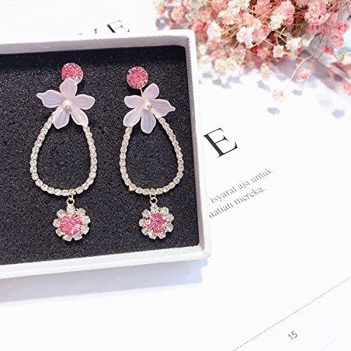 High-Season MENGJIQIAO 2018 New Statement Shiny Rhinestone Flower Big Drop Earrings For Women Fashion Elegant Crystal Boucle D'oreille Gift ()