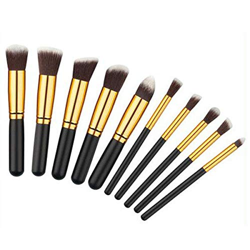 10pcs Makeup Brushes Set Kabuki Foundation Powder Eyeliner Eyeshadow Blush Brush (Color - 10pcs black gold brush#19)