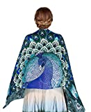 Aqua Peacock Scarf, 100% Silk hand painted Blue Winged Feather Wrap, Wedding Shawl