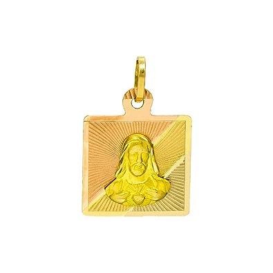Amazon.com: 14K Tri-Color Gold Sacred Heart of Jesus (Sagrado ...