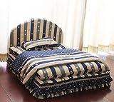 TONGROU New Stripe Cotton Handmade Pet Dog Cat Sofa Bed House +Blanket Pillow Blue Brown