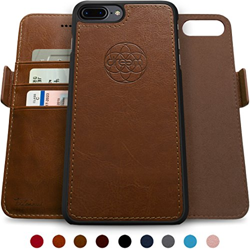Dreem Fibonacci 2-in-1 Wallet-Case for iPhone 8-Plus & 7-Plus, Magnetic Detachable Shock-Proof TPU Slim-Case, Allows Wireless Charging, RFID Protection, 2-Way Stand, Luxury Vegan Leather - Chocolate