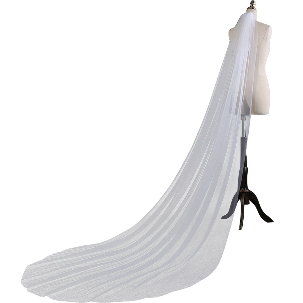 Dzzinme Simple One-layer 3 Meters Wedding Veils Long Soft Bridal Veils With Comb