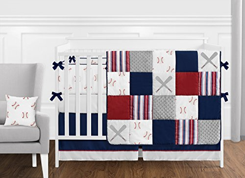 (Sweet Jojo Designs Red, White and Blue Baseball Patch Sports Baby Boy Crib Bedding Set with Bumper - 9 Pieces - Grey Patchwork Stripe)