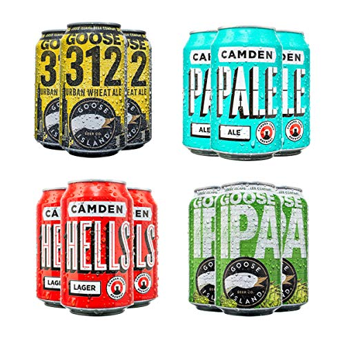 Craft Beer Party Pack, from Camden Town Brewery and Goose Island, 12 cans per pack (6x330ml and 6x355ml) including Hells Lager, Pale Ale, IPA and Wheat Ale