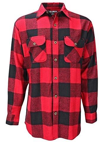 Canyon Guide Outfitters Men's Buffalo Plaid Button Down Long Sleeve Shirt (X-Large, Red Buffalo - Canyon Guide