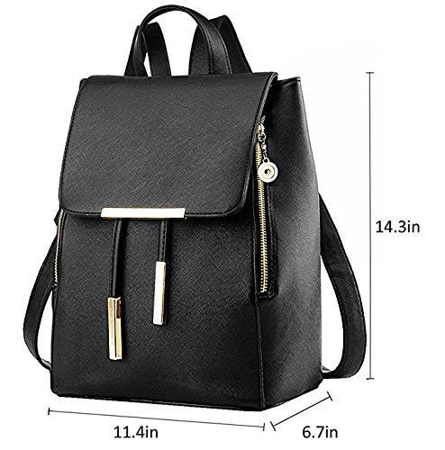 Backpacks,Sunroyal Women Girls Leather Schoolbags Travel Casual Shoulder Bag Mochila-Black by Sunroyal (Image #1)