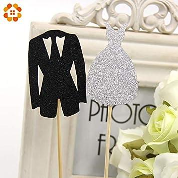 Cake Topper Cups Dessert New! 5Set Bridal & Groom Tuxedo Dress Gown ...