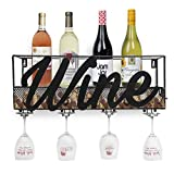 Besti Wine Rack – Home or Wine Model Wine Rack – Wall Mounted Wine Rack – with Glasses Holder Included – Special Wine/Sommelier Pack – Great Gift – Home Décor – Wine Cork Storage (Wine Script)