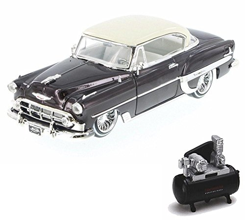 - Diecast Car & Air Compressor Package - 1953 Chevy Bel Air Hard Top Lowrider, Bronze - Jada 98918-MJ - 1/24 Scale Diecast Model Toy Car w/Air Compressor