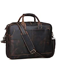 S-ZONE Genuine Leather Professional Look Briefcase Bag for 17 inch laptop (Dark Brown)